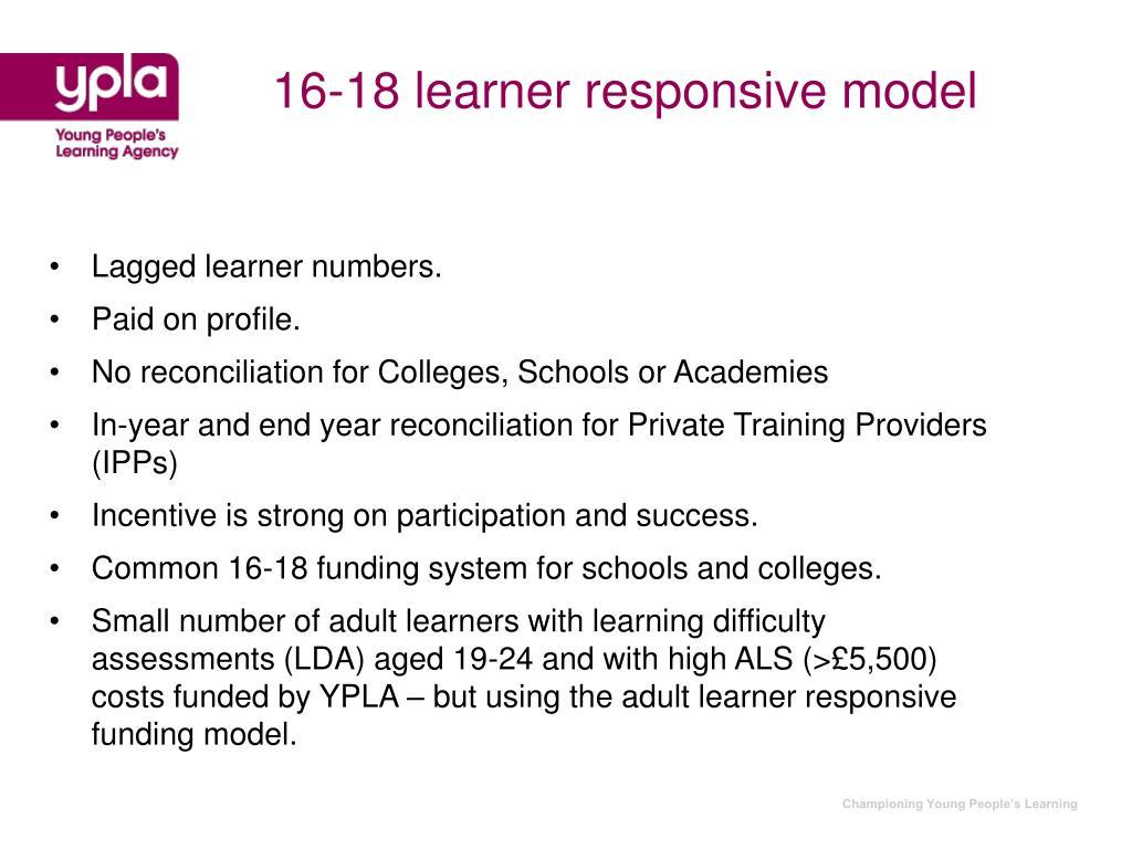 16-18 learner responsive model