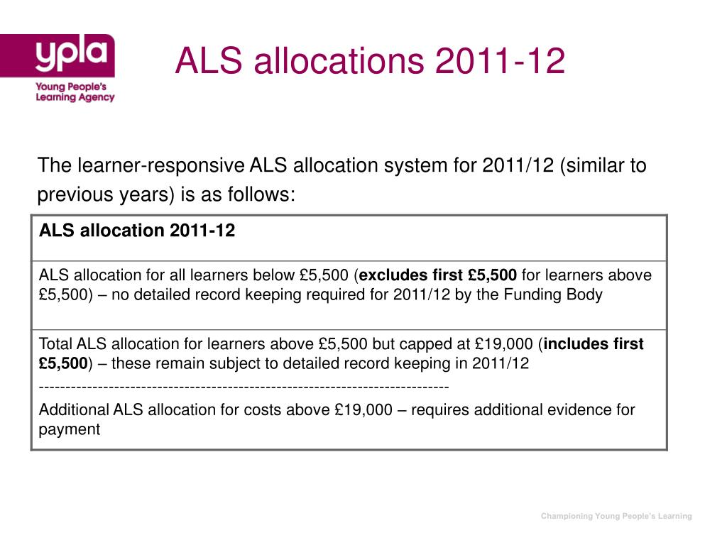 ALS allocations 2011-12