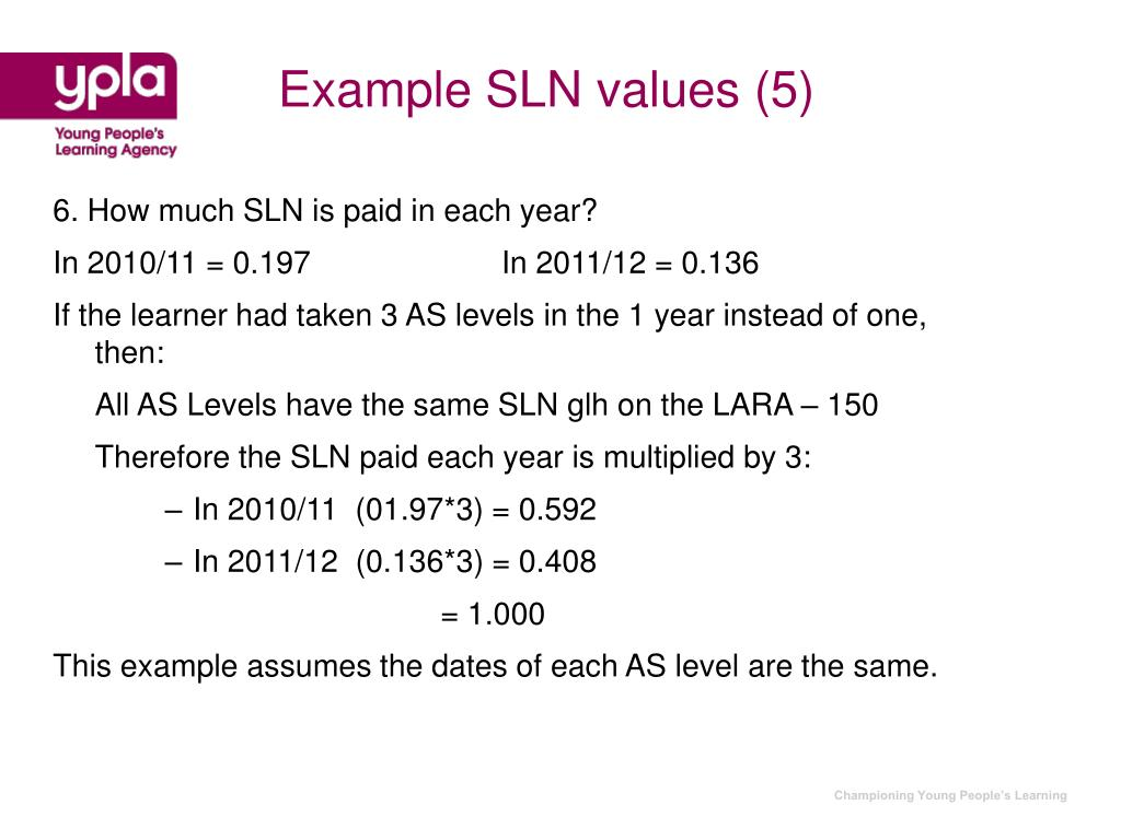 Example SLN values (5)
