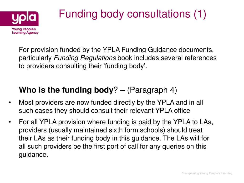 Funding body consultations (1)