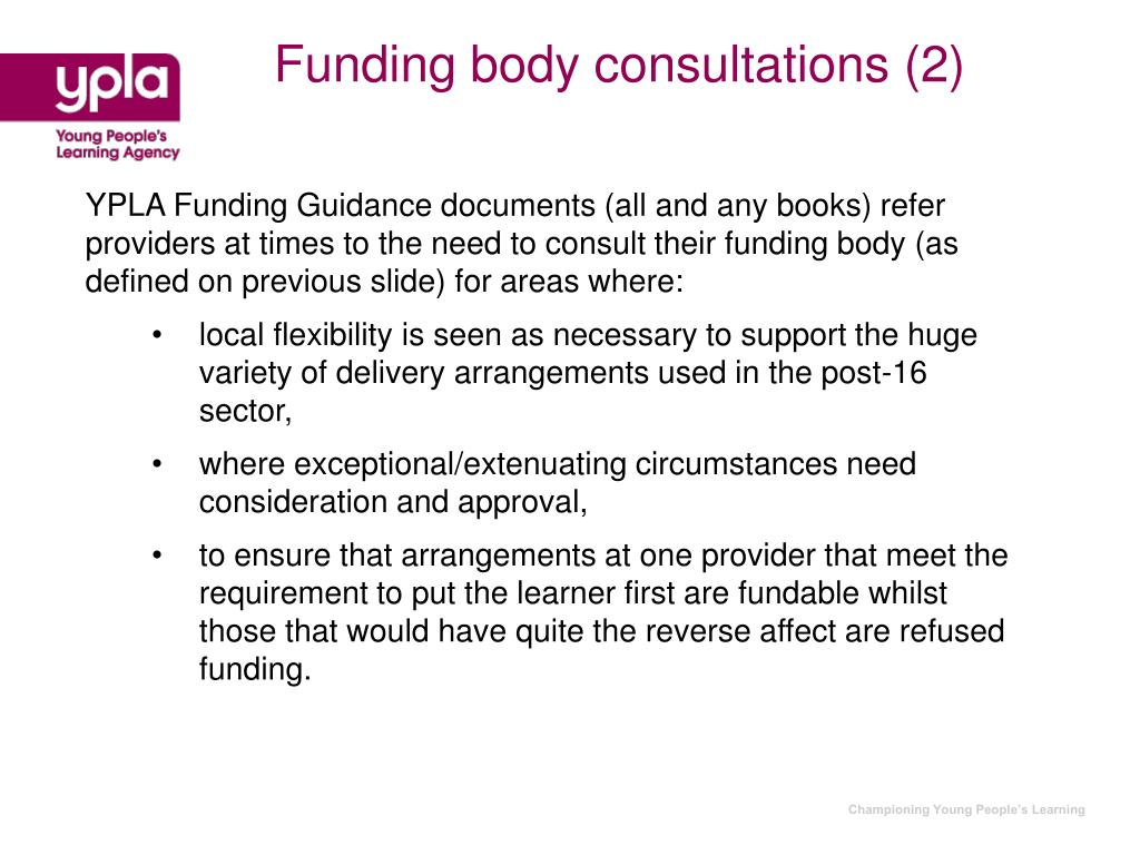 Funding body consultations (2)