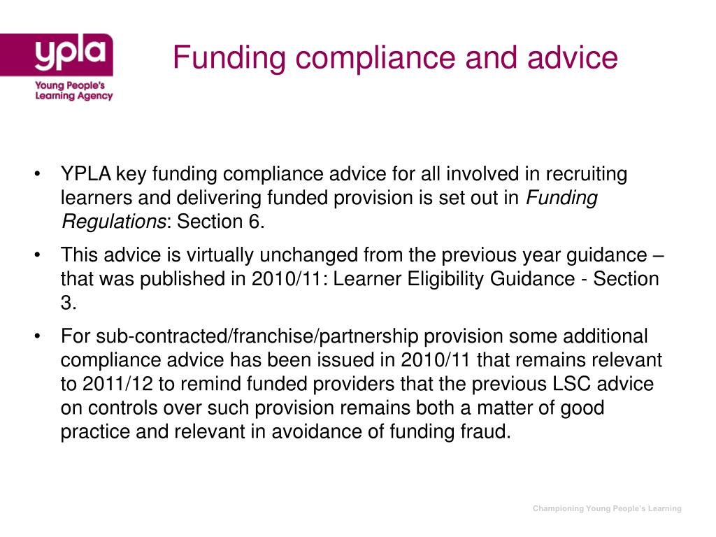 Funding compliance and advice