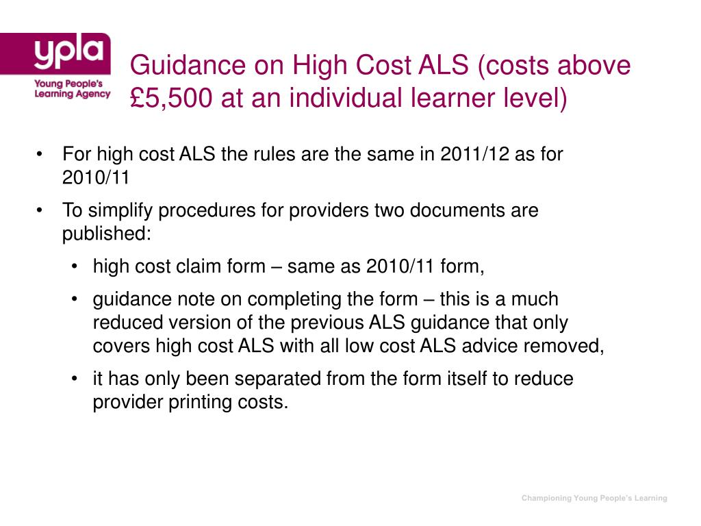 Guidance on High Cost ALS (costs above £5,500 at an individual learner level)