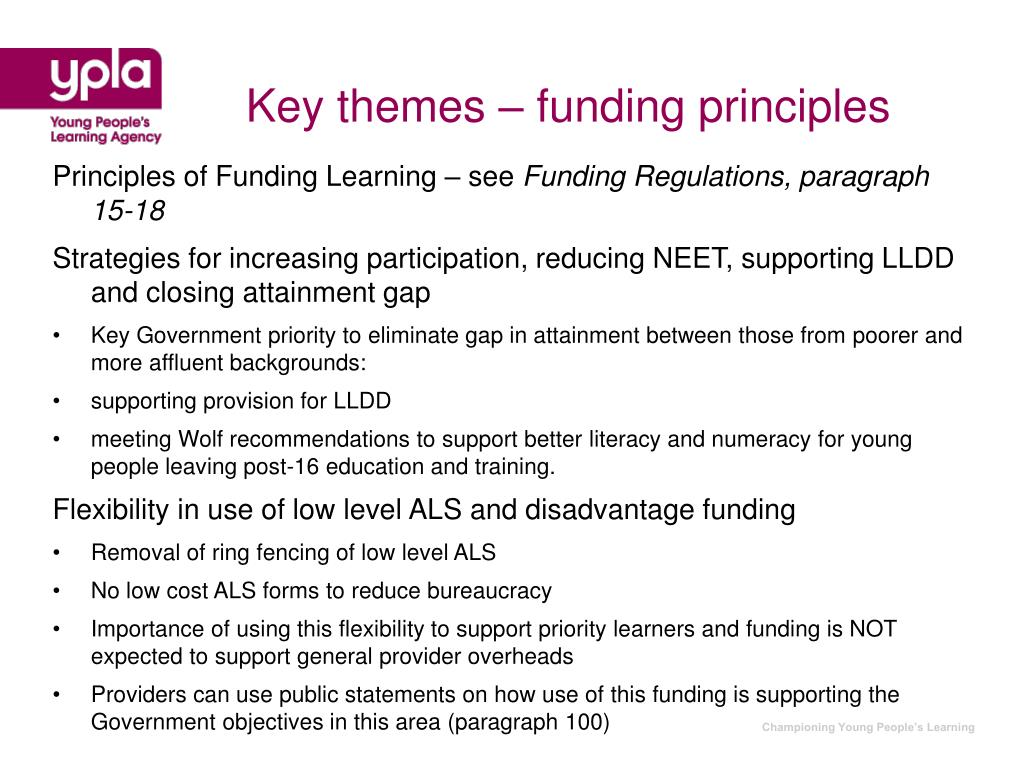 Key themes – funding principles