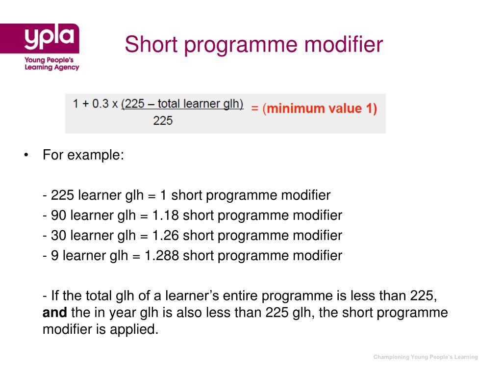 Short programme modifier