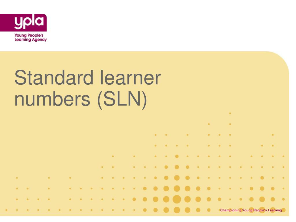 Standard learner numbers (SLN)