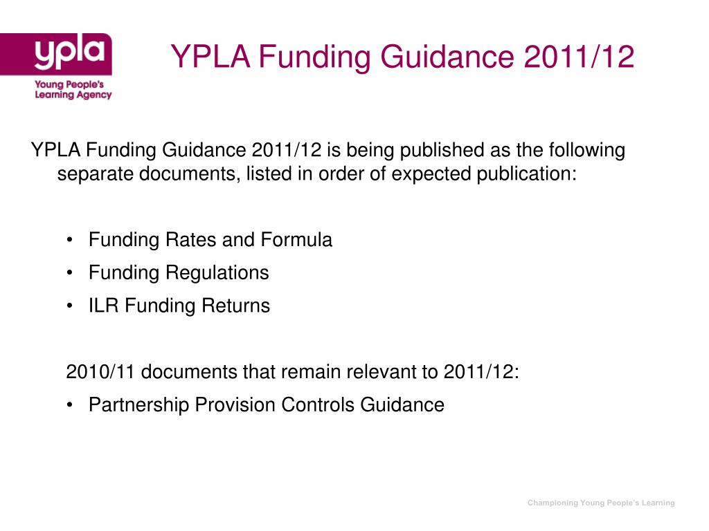 YPLA Funding Guidance 2011/12