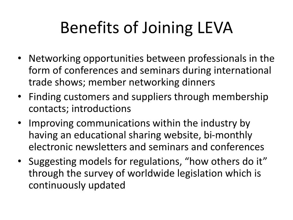 Benefits of Joining LEVA