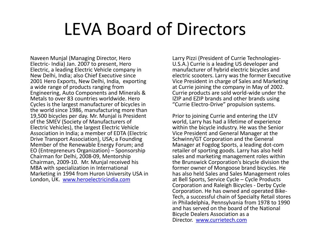LEVA Board of Directors