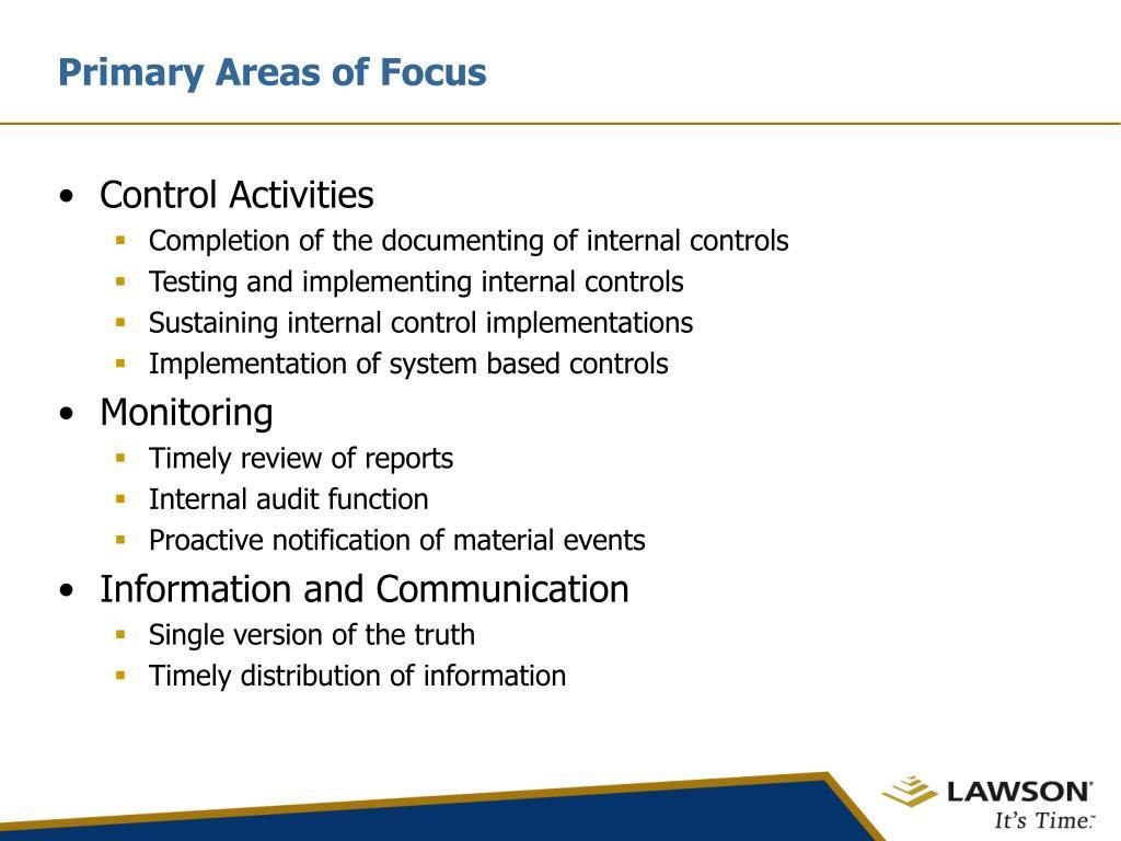 Primary Areas of Focus