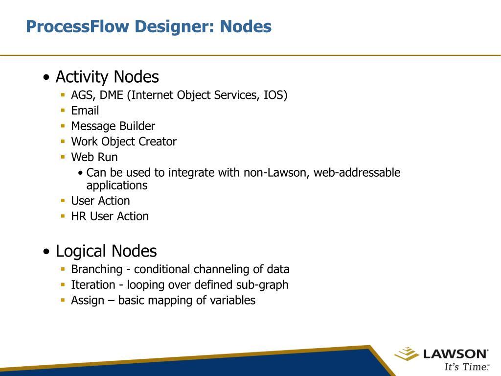 ProcessFlow Designer: Nodes