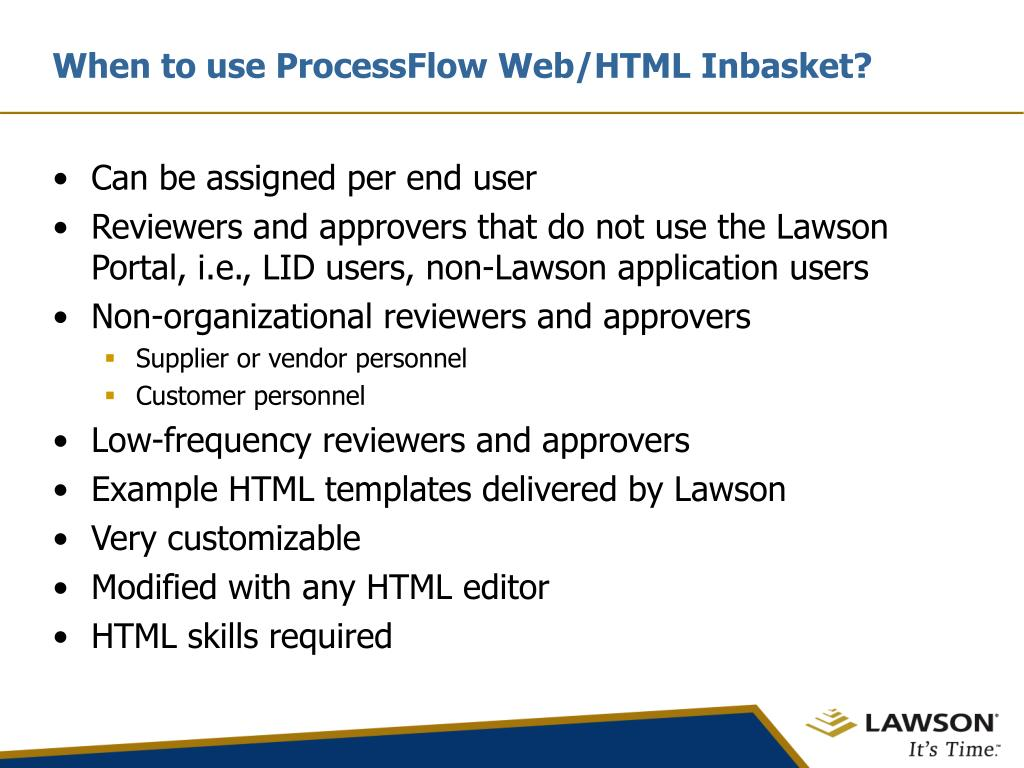 When to use ProcessFlow Web/HTML Inbasket?