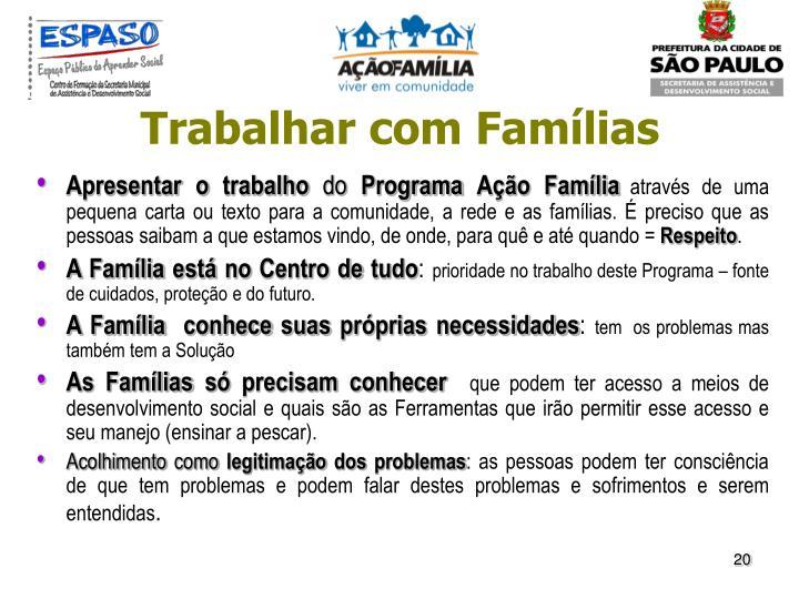 Trabalhar com Famílias