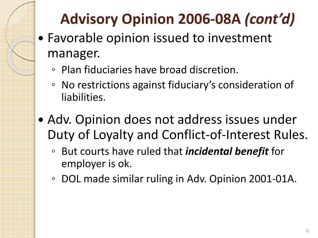 Advisory Opinion 2006-08A