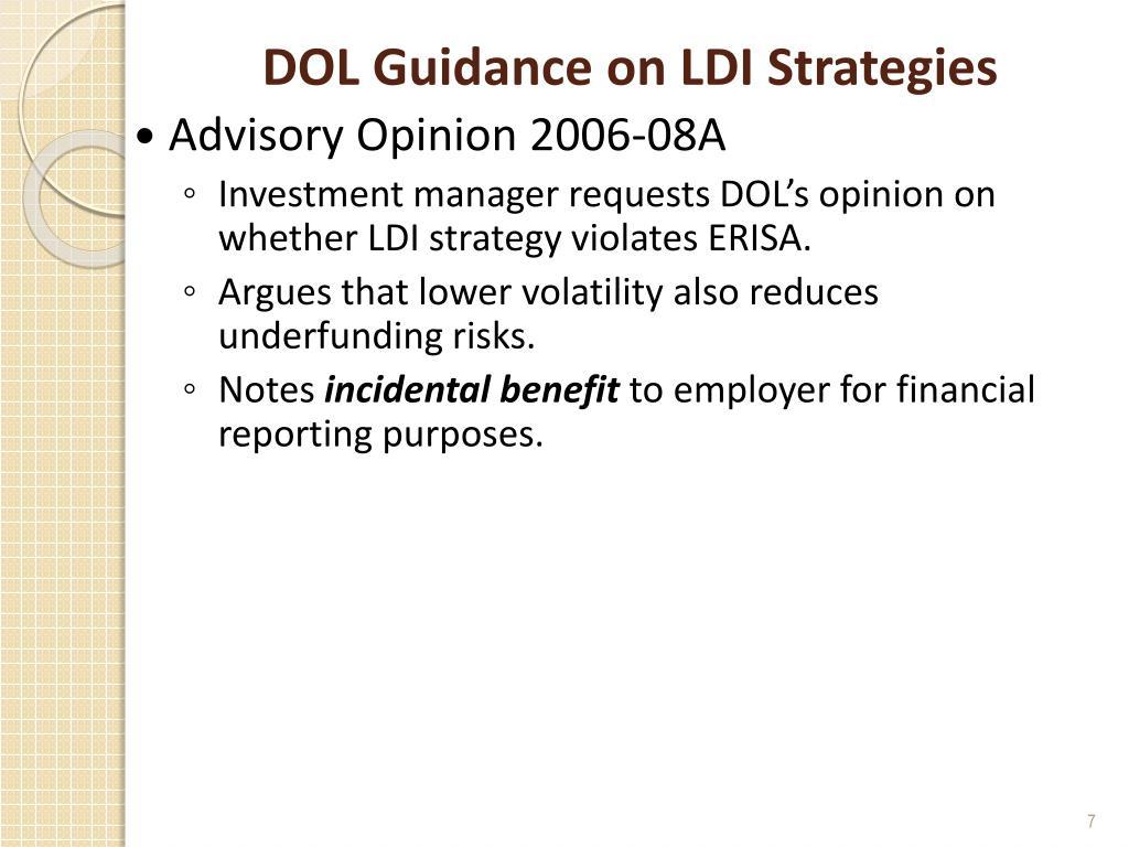 DOL Guidance on LDI Strategies