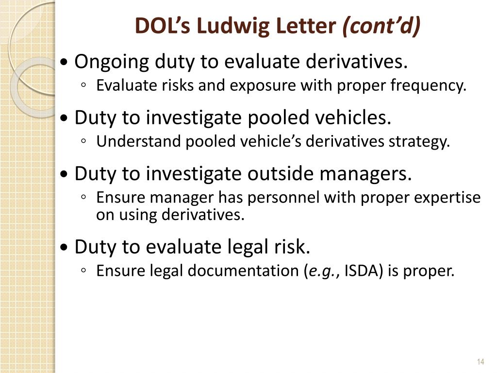 DOL's Ludwig Letter