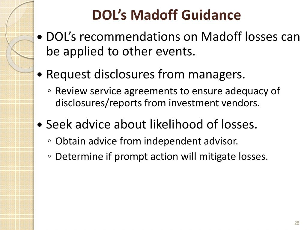 DOL's Madoff Guidance