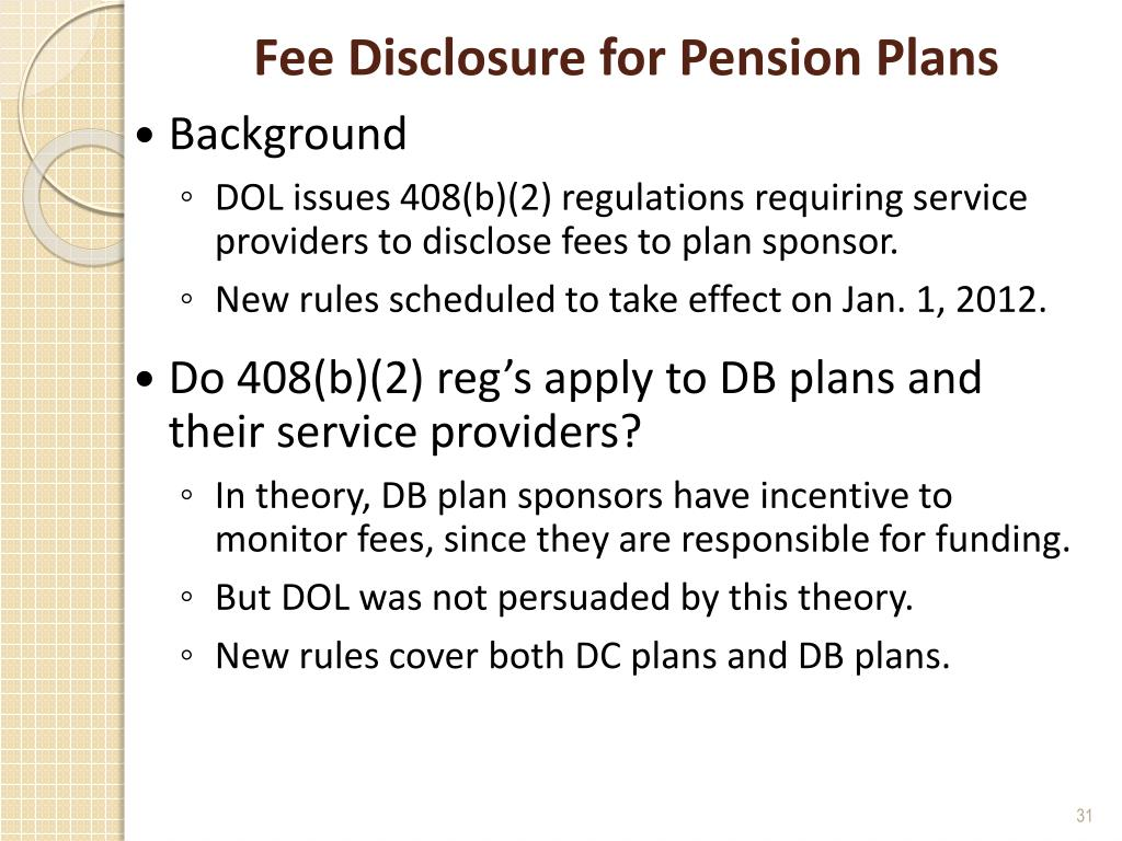 Fee Disclosure for Pension Plans