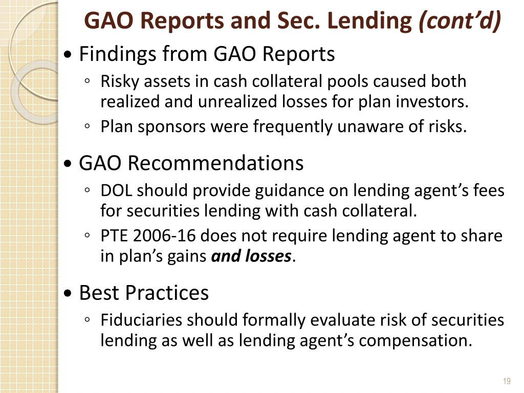 GAO Reports and Sec. Lending