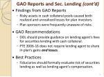 gao reports and sec lending cont d