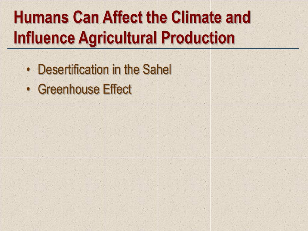 Humans Can Affect the Climate and Influence Agricultural Production