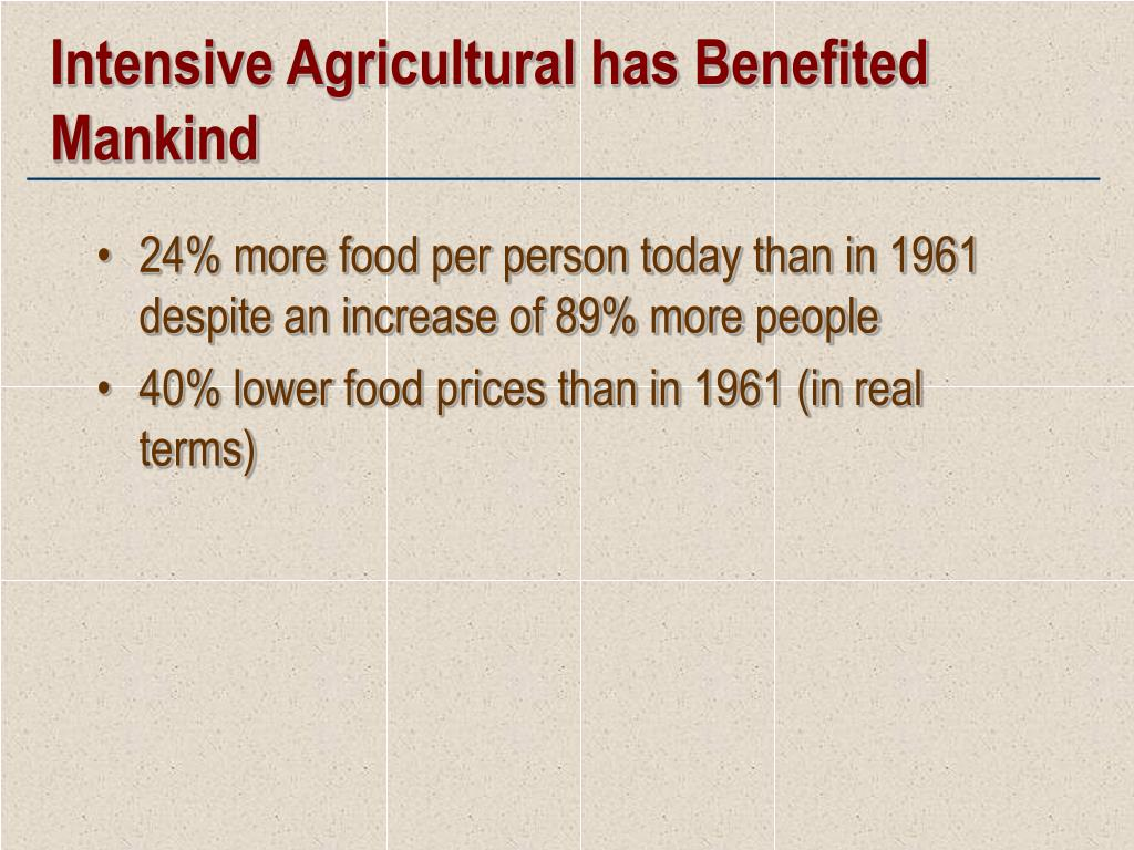 Intensive Agricultural has Benefited Mankind