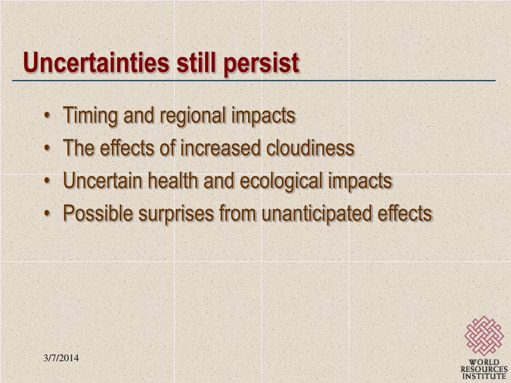 Uncertainties still persist