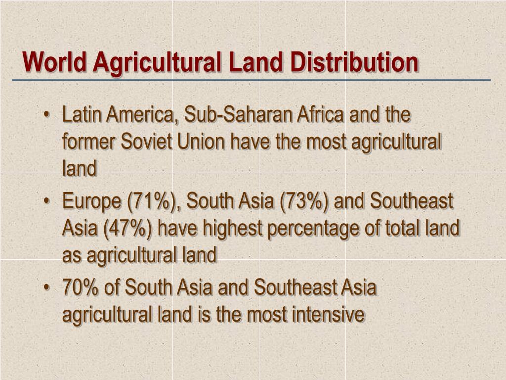 World Agricultural Land Distribution
