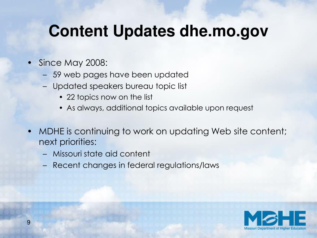 Content Updates dhe.mo.gov