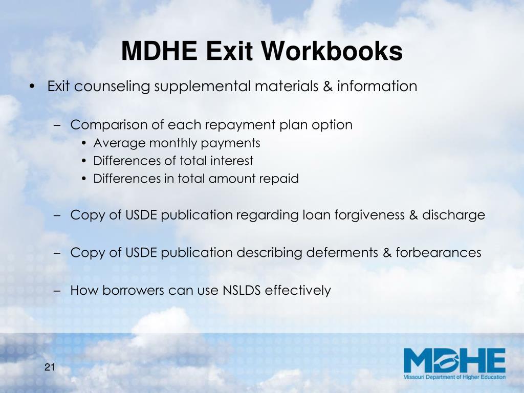MDHE Exit Workbooks