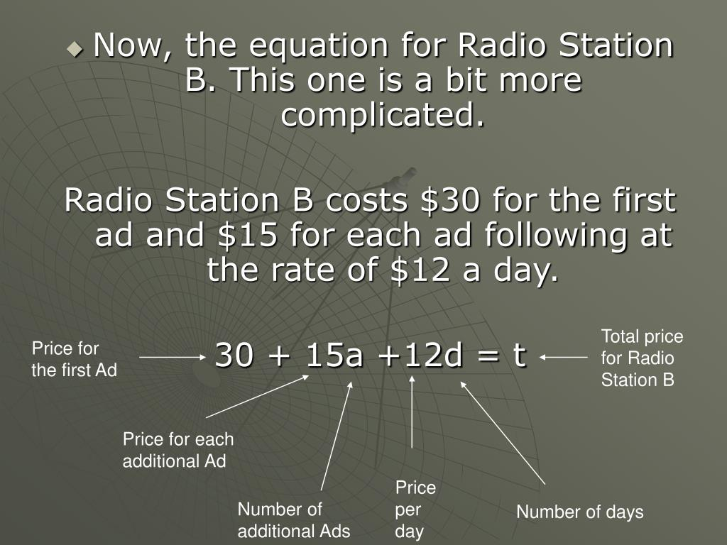 Now, the equation for Radio Station B. This one is a bit more complicated.