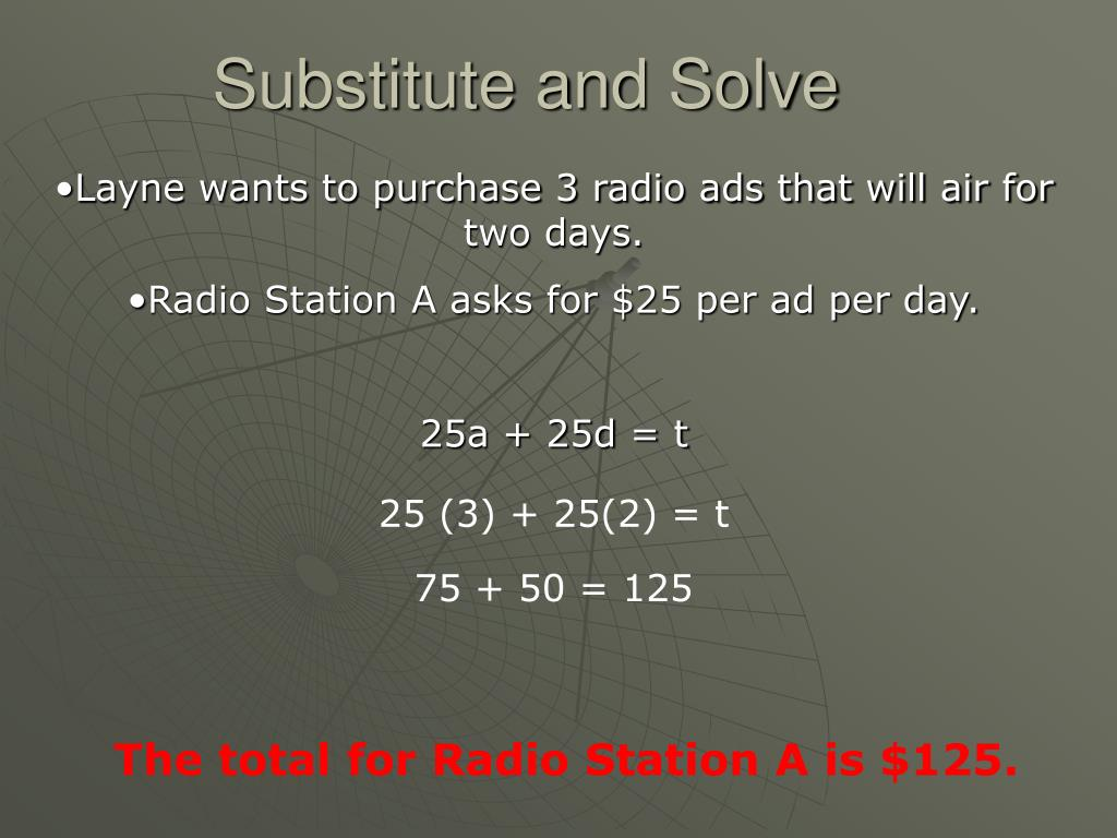 Substitute and Solve