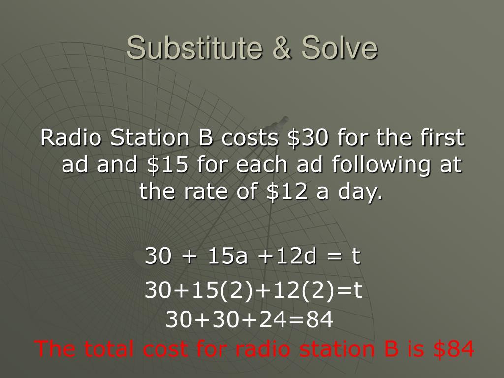 Substitute & Solve