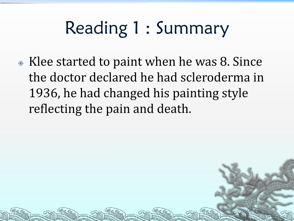 Reading 1 : Summary