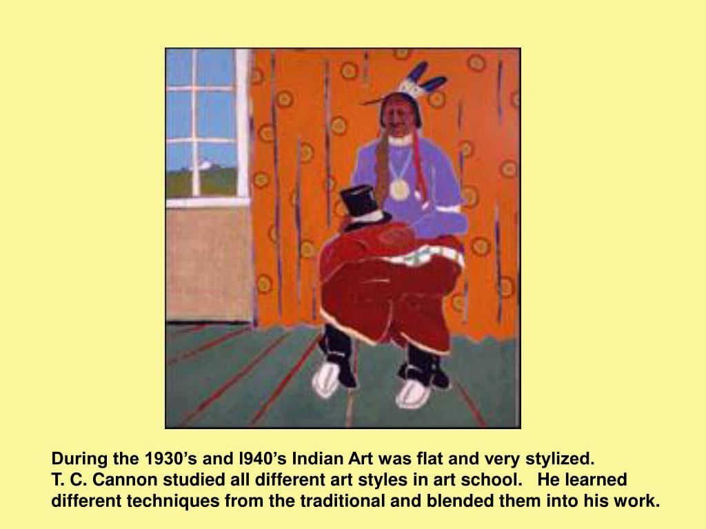 During the 1930's and l940's Indian Art was flat and very stylized.