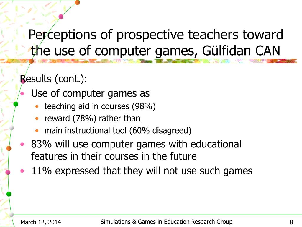 Perceptions of prospective teachers toward the use of computer games, Gülfidan CAN