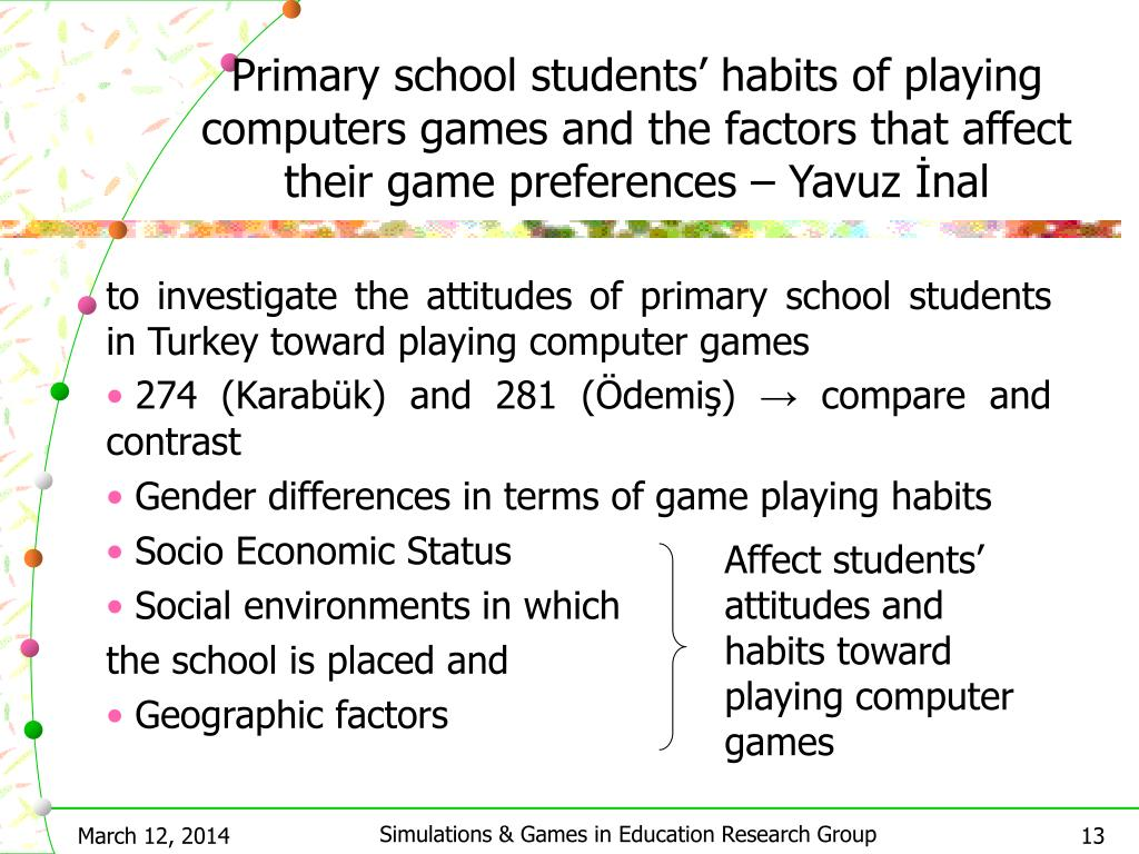 Primary school students' habits of playing computers games and the factors that affect their game preferences – Yavuz İnal