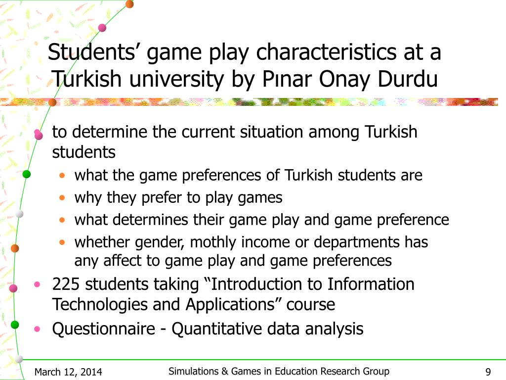 Students' game play characteristics at a Turkish university