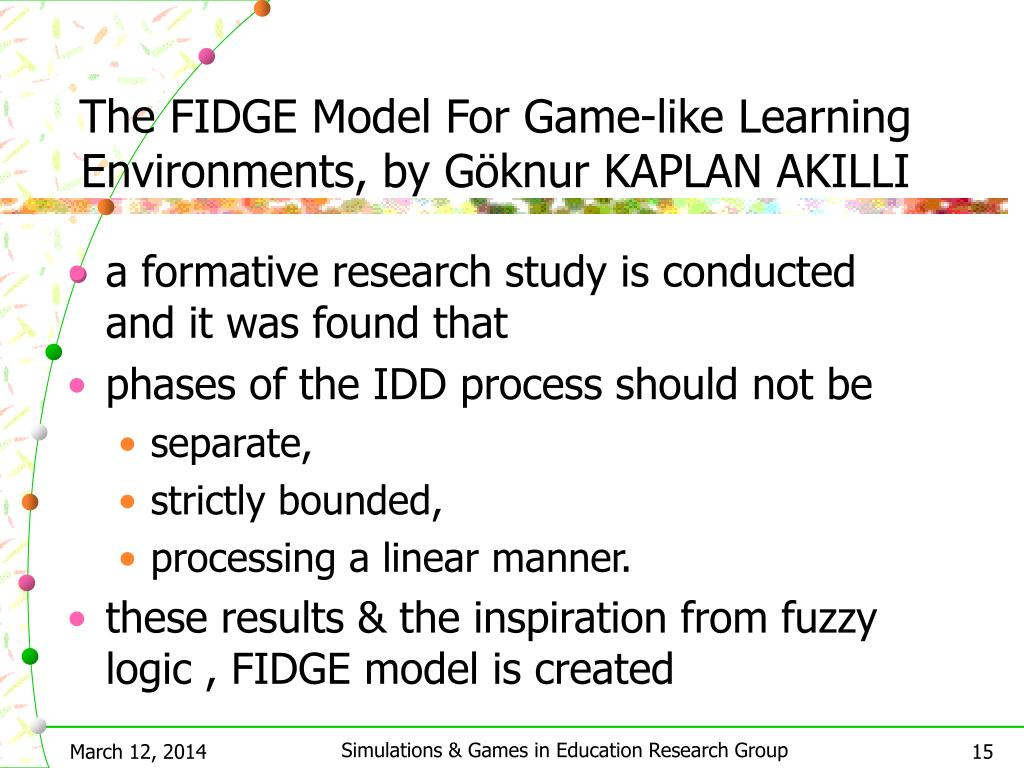 The FIDGE Model For Game-like Learning Environments, by G