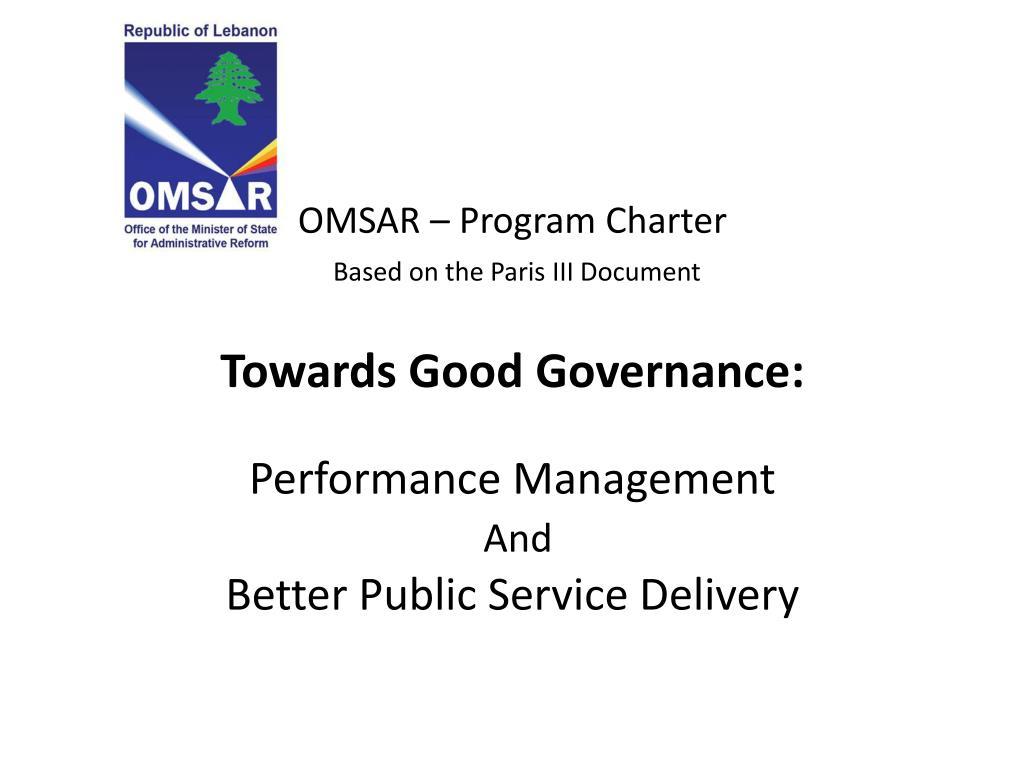 OMSAR – Program Charter