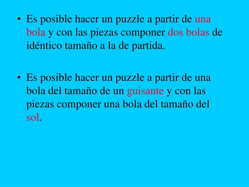 Es posible hacer un puzzle a partir de