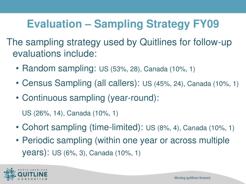 Evaluation – Sampling Strategy FY09