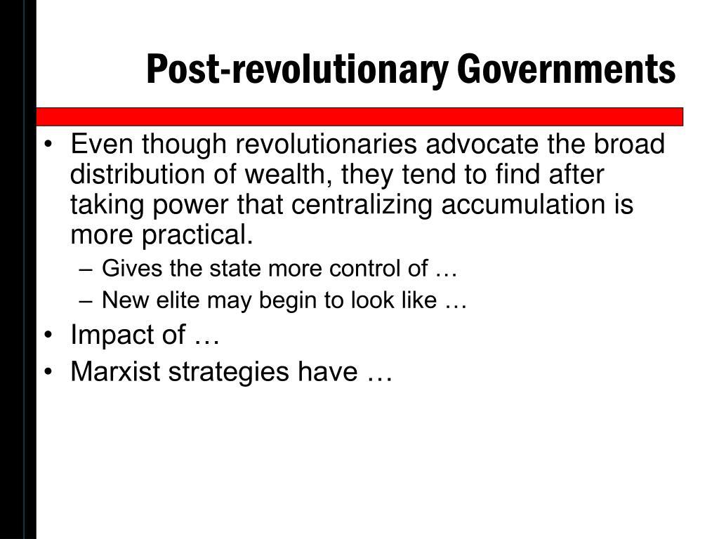 Post-revolutionary Governments