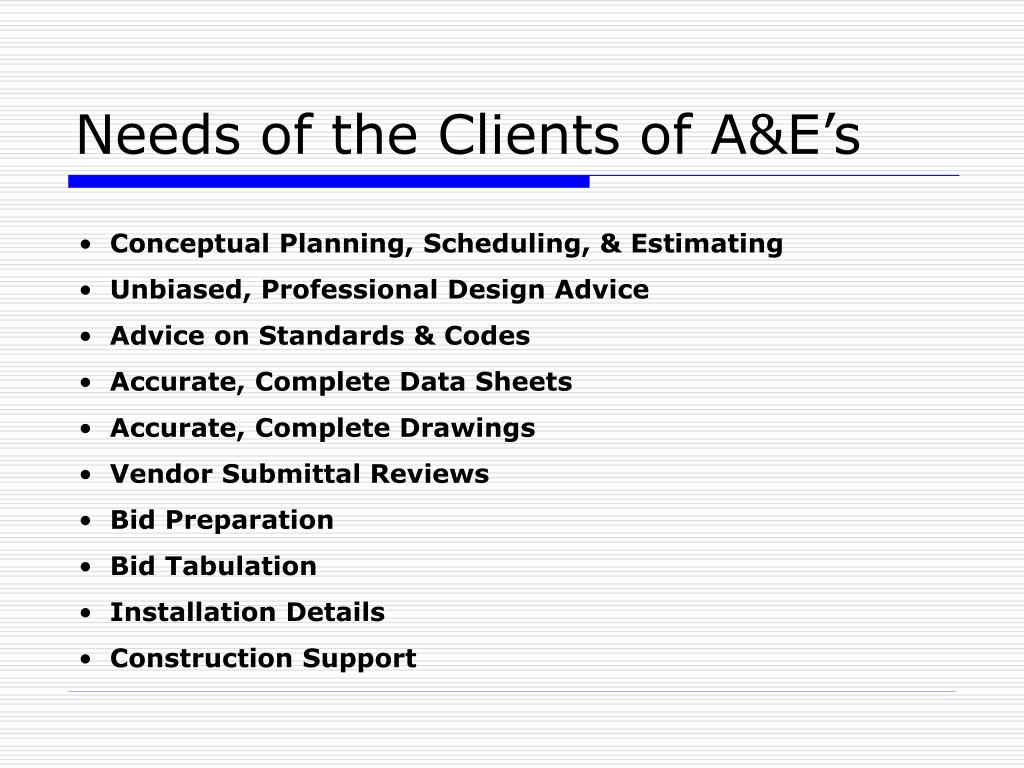 Needs of the Clients of A&E's