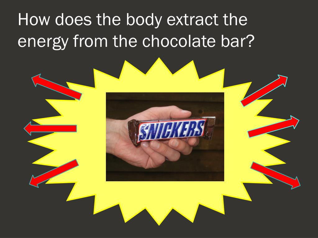 How does the body extract the energy from the chocolate bar?