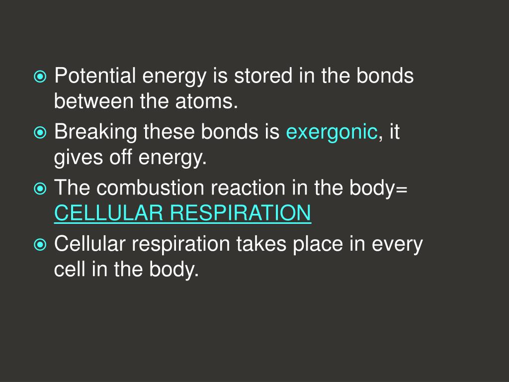 Potential energy is stored in the bonds between the atoms.