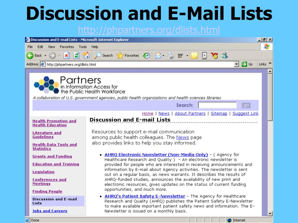 Discussion and E-Mail Lists