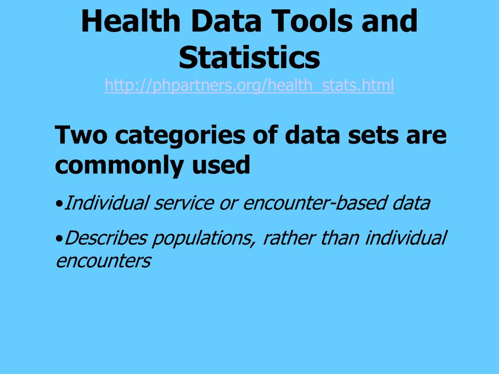 Health Data Tools and Statistics