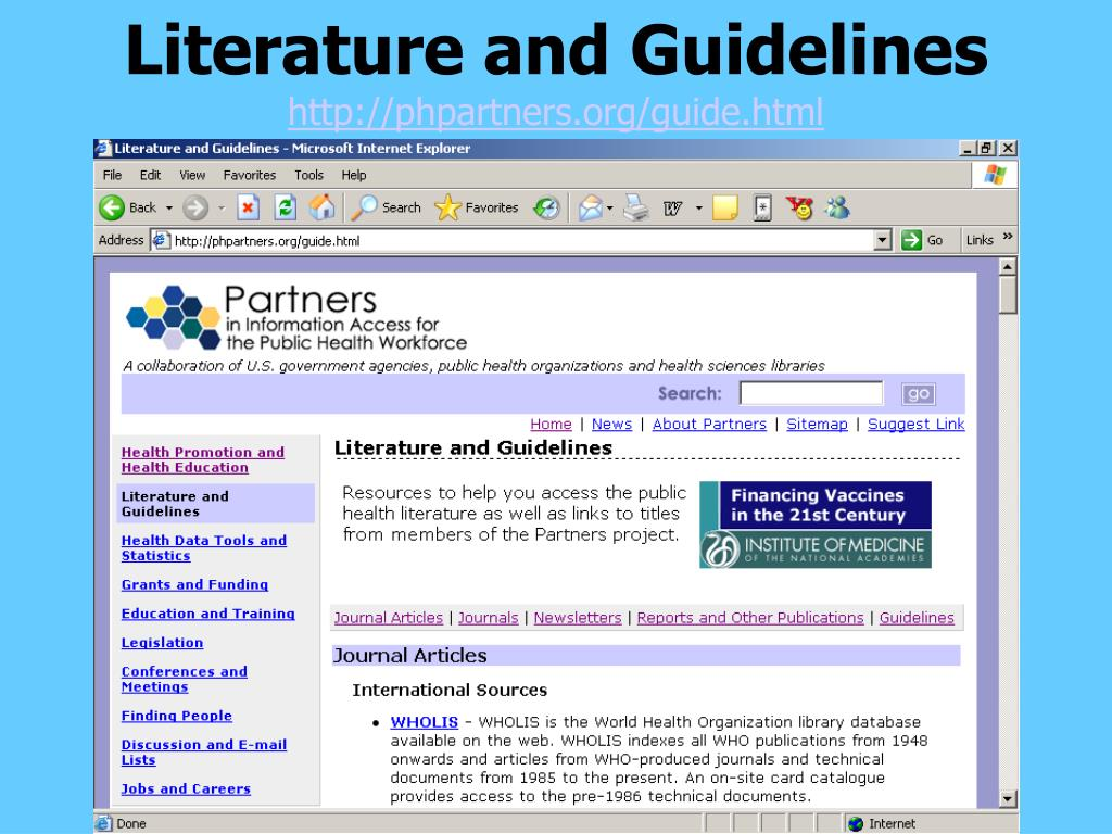 Literature and Guidelines