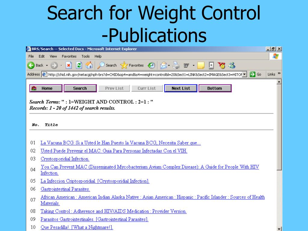 Search for Weight Control